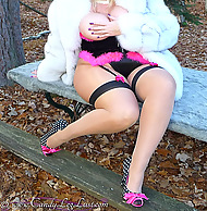 Dominate MILF Candy In Fur Coat Masturbates In Seamed Stockings Coupled with Pantyhose Layers