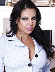 Shove around Latin office babe Eva Salizar strips on her desk.
